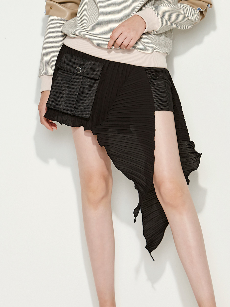 Ruffle Layer Mesh Shorts in Black