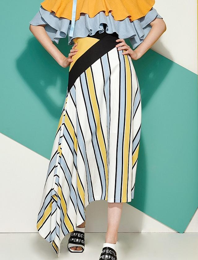 Striped Maxi Skirt in Yellow