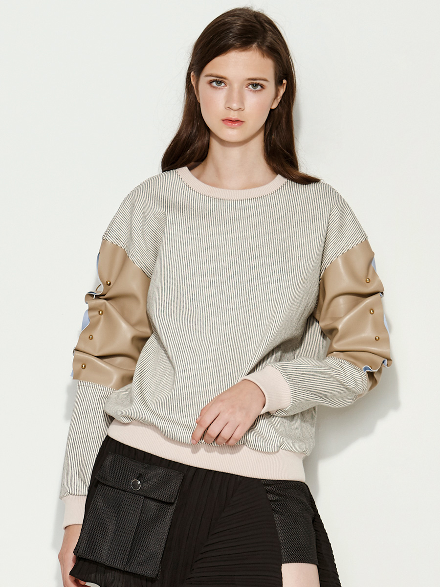 Pinstripe Beige Sweatshirt Faux Leather Sleeves