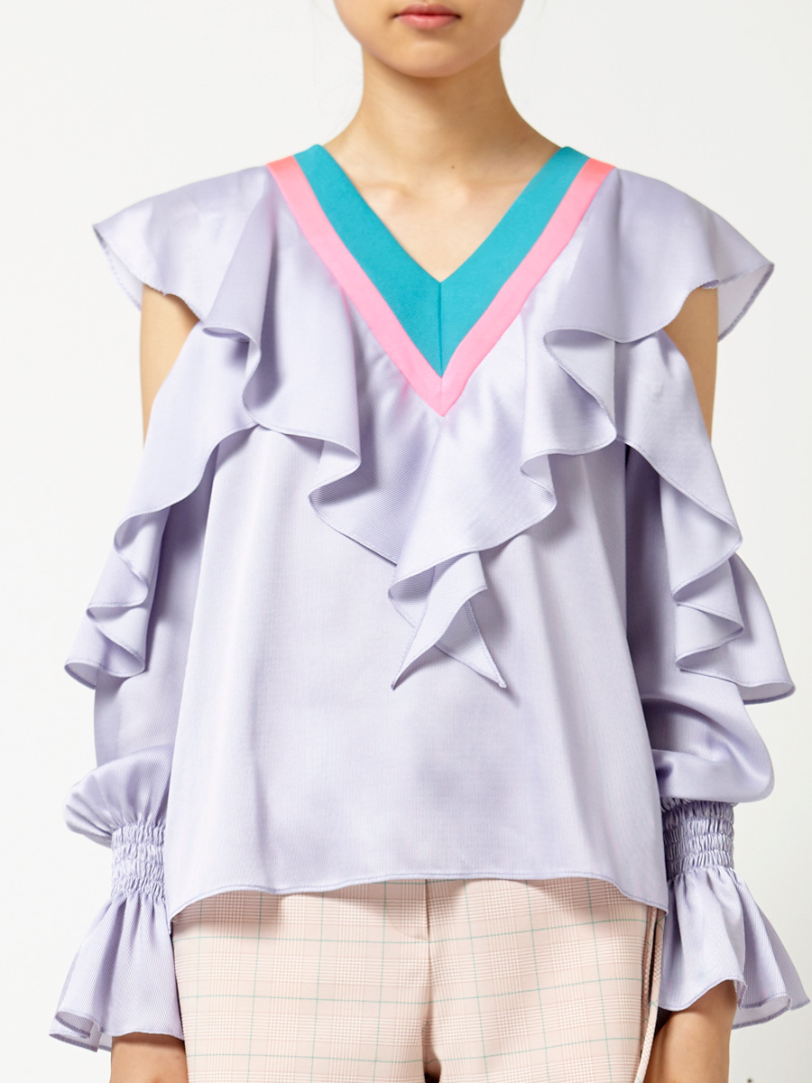 V-Neck Ruffled Sleeve Top in Purple