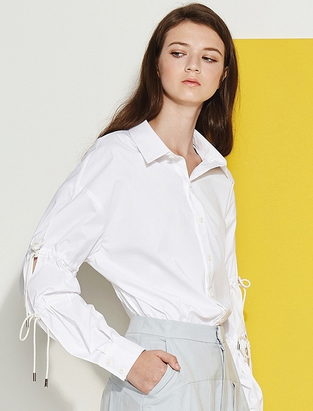 Tie Cord Sleeve White Button Down Shirt