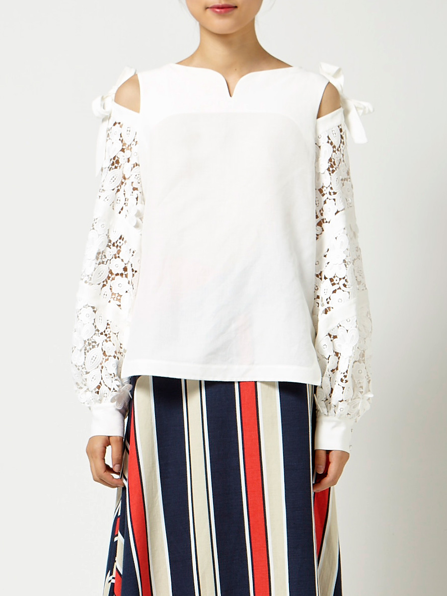 White Victorian Lace Sleeve Top